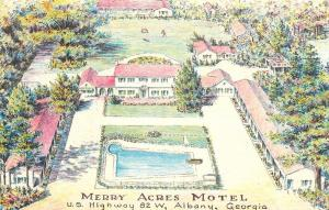 Albany Georgia~Merry Acres Motel~Artist Conception~~1950s Postcard