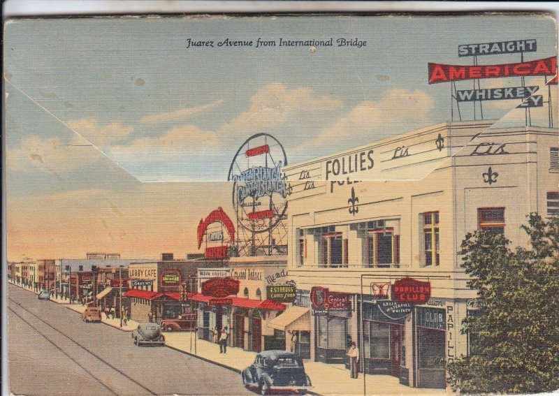 P1912 1951 postcard souvenir folder c. juarez mexico 9 foldouts 18 views