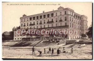 Old Postcard Arcachon The Hotel Seen from the Beach