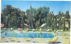 Pool Scene at Santa Maria Inn, Santa Maria, California, CA, pre-zip Code Chrome