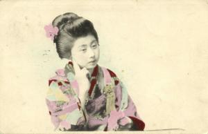 japan, GEISHA Lady in Thoughts (1912) Straits Stamp