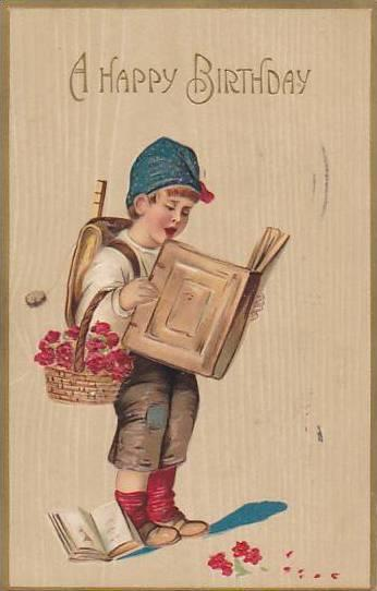 A Happy Birthday, Boy with basket of flowers reads book, PU-1912