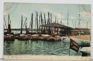 Cuba Havana Boat Landing Pier Dock Ships Boats Flag Antique Postcard K1