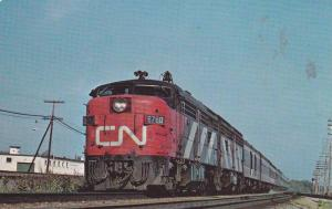 Close Up of Canadian National 6760 Train, Westbound in Dorval, Quebec, Canada...