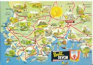 Devon Postcard - Map of South Devon - Ref 19055A