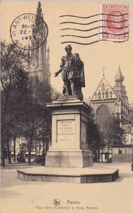 Belgium Anvers Place Verte Cathedrale et Statue Rubens 1924