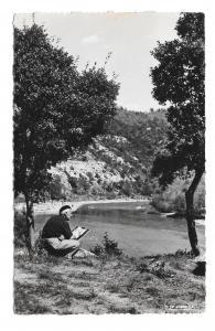 France Painter Peintre du Veron Artist Greoux Les Bains La Cigogne 1957 Postcard