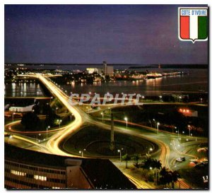 Modern Postcard Republic of the Ivory Coast Abidjan night view