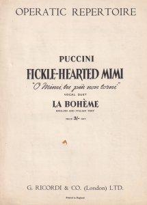 Fickle Hearted Mimi La Boheme Puccini Sheet Music
