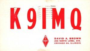 Vintage Postcard 1959 K9IMQ Red Alert David Brown Chicago 44 Illinois IL