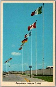 CHICAGO Illinois Postcard O'HARE AIRPORT International Flags c1950s Unused