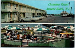 Atlantic, Beach, North Carolina Postcard OCEANANA RESORT Roadside Pool 1960s
