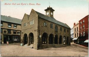 Market Hall and Kyrle's House Ross Herfordshire UK c1910 Postcard D90