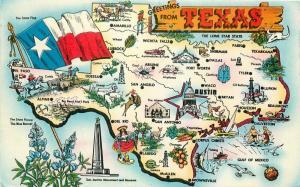 1959 Map Attractions Texas Postcard Tichnor 3471