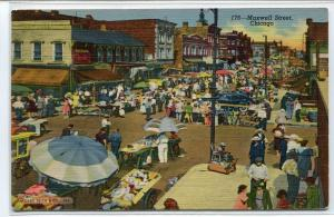 Maxwell Street Market Chicago Illinois 1945 postcard