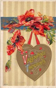 E12/ Valentine's Day Love Holiday Postcard c1910 Indianapolis #632 Gold Heart 6