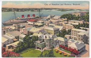 Bermuda; City Of Hamilton & Harbour PPC By Yankee Store, c 1930's, Linen Effect