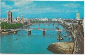 Lambeth Bridge, Houses of Parliament and River Thames, LONDON 1977 used Postcard