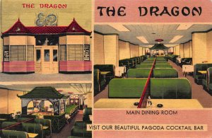 The Dragon Chinese Restaurant, Washington, D.C., Early Linen Postcard, Unused