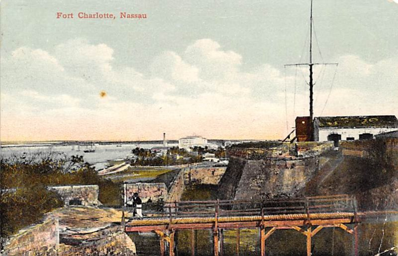 Nassau in the Bahamas Post card Old Vintage Antique Postcard Fort Charlotte 1913