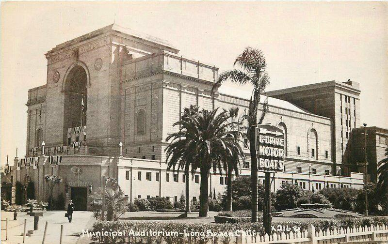Long Beach California Municipal Auditorium 1940s RPPC Photo Postcard 109