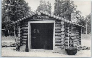 1950s Park Rapids MN Postcard RAPID RIVER LOGGING CAMP Blacksmith Shop Log Cabin