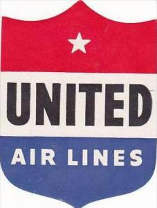 UNITED AIR LINES VINTAGE LUGGAGE LABEL