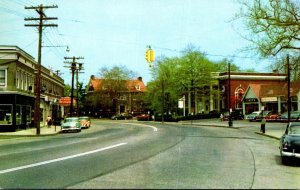 Connecticut Fairfield Main Street Scene Fairfield Center Showing Bank and Lib...