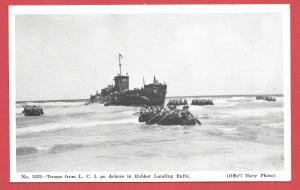 Naval Ships - #1223 - Troops for LCI go Ashore in Rubber Landing Boats