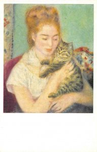 Woman With A Cat Painting By Renoir National Gallery of Art Vintage Postcard