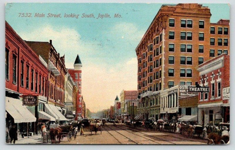 Joplin MO~Main Street~Ideal $2 Shop~Theatre~Turner's Restaurant~Book Store~1913