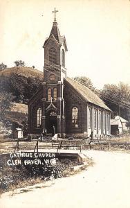 Glen Haven Wisconsin~Catholic Church~Dirt Road Bridge~Men on Steps~1915 RPPC