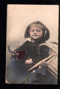 047333 Funny Boy as Rural Type w/ Pipe vintage PHOTO