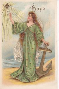 Woman wearing long green and gold gown, Shining Star, Anchor, PU-1909