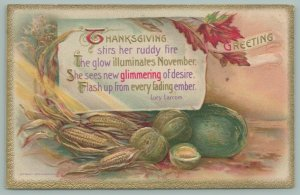 Thanksgiving~Unshucked Corn~Watermelon~Gourds~Fall Leaves~Poem~Gold~1910 Winsch