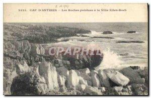 Postcard Old Cap d'Antibes has the Pointed Rocks Villa Eilen Roch