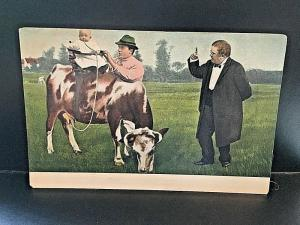 Poscard  Hand Colored Baby in the Saddle on a Cow, Germany   Z8