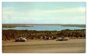 1950s Wequaquet Lake and Old Cars on Mid-Cape Highway, Cape Cod, MA Postcard