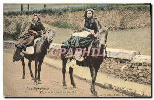 Old Postcard The Peasant going Pyrenees Walking Mule Donkey Folklore