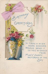 Birthday Greetings, Pink Bow attachment, Roses in Vase, Poem, 00-10s