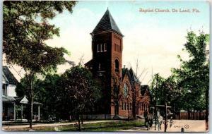 DeLand, Florida Postcard BAPTIST CHURCH Building / Street View w/ 1910 Cancel
