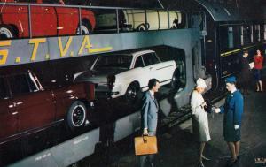 Chemins De Fer Francais Train Autos Couchettes 1950s Postcard