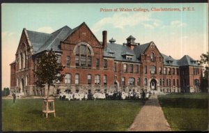 PEI CHARLOTTETOWN Prince of Wales College by Valentine's Students - Divided Back