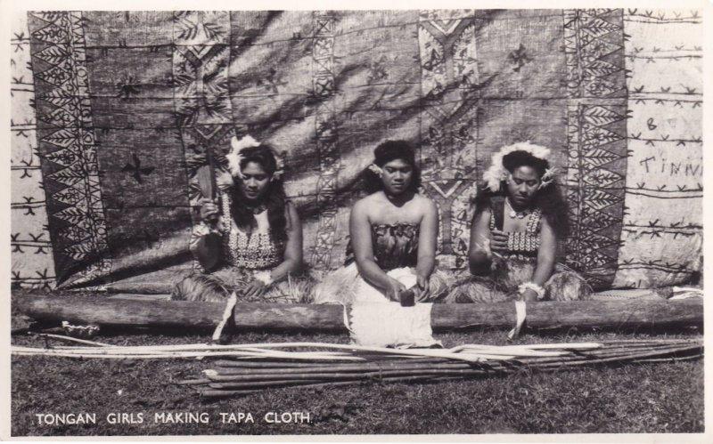 Tonga Girls Making Tapa Cloth New Zealand Tongan RPC Postcard