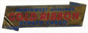 NORTHWEST AIRLINES STRATO CARGO VINTAGE LUGGAGE LABEL