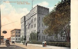 25751 MA, Fall River, 1910, The Armory and Textile School, people out fornt w...