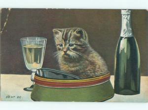 Pre-Linen CUTE KITTEN CAT SITTING IN HAT AC5502