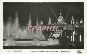 Postcard Modern Barcelona Parque de Montjuic Palacio Nacional y Fuente Magica