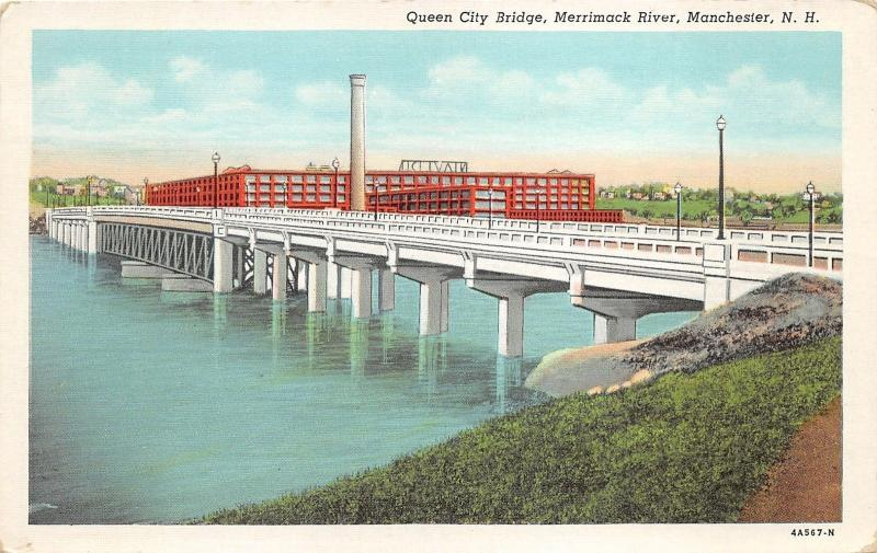 Manchester New Hampshire~Queen City Bridge over Merrimack River~Amoskeag News Pc