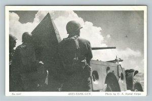 Anti-Tank Gun, US Military, Chrome Postcard
